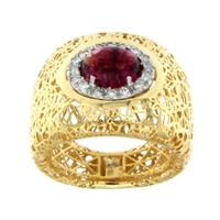 Anello con Brillanti e Tourmaline