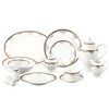 This elegant bone china set has durable quality with a delicate and exquisute look