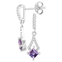 Bellissima Sterling Silver Square Amethyst Earrings