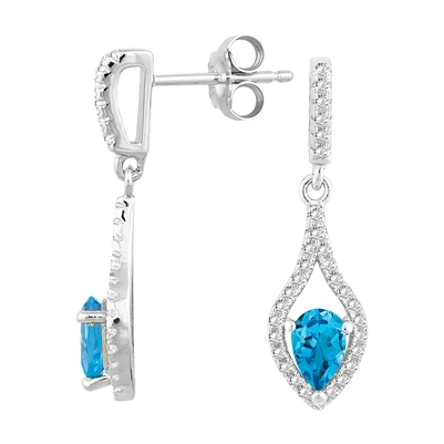 Bellissima Sterling Silver Pear Swiss Blue Topaz