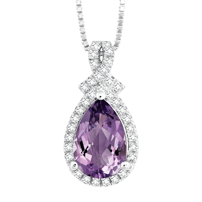 Bellissima Sterling Silver Pear Amethyst Necklace