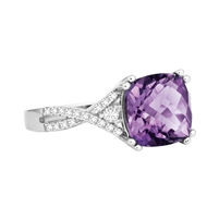 Bellissima Sterling Silver Cushion Amethyst