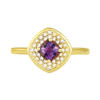 Bellissima Sterling Silver Cushion Amethyst Ring