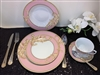 49 PCS DINNER SET, PINK DESIGN WITH GOLD
