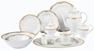 57 Piece Wavy Edge with Gold Trim Porcelain Dinnerware set, service for 8