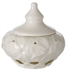 Debora Carlucci Porcelain Covered Candy Dish with Embossed Daisy Decor Ivory