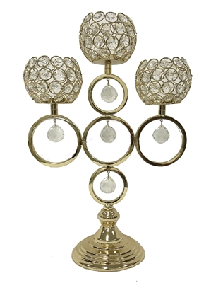 This fabulous D'Lusso Designs 3 Ball Gold Metal Candle Holder makes the perfect gift to impress. Made of intricately designed metal and hand made ornaments, it is surely a gift or centerpiece that will be treasured. Measures: 13x6x18