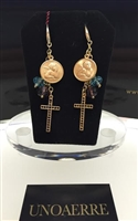 Fashion Jewelry by UNOAERRE 18kt Gold Plated Earrings with Color Stones and Angel Charms