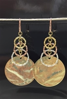 UNOAERRE by UNOAERRE 18t Gold Plated 3 Tone Pendant Earrings