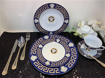 49 PCS DINNRE SET, NAVY/GOLD GREEK KEY DESIGN