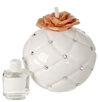 ITALIAN BONE CHINA PEACH FLOWER DIFFUSER WITH SWAROVSKI ACCENTS