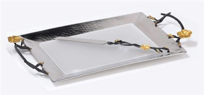 "16"" Challah Tray with Knife-Frangipani Black/Gold"