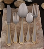 84 piece with gold accent. Complete for 12 flatware set