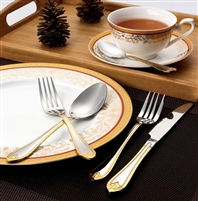 84 PIECE FLATWARE SET SERVICE FOR 12 MIRROR FINISH STAINLESS STEEL AND GOLD-LORENA