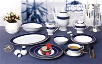 57 Piece 'Midnight' Bone China Dinnerware Set (Service for 8 People), Blue