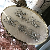 CHIC HANGING WEDDING PLAQUE WITH BEAUTIFUL DIAMANTE CRYSTALS SWAROVSKI 'MR & MRS Gold