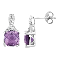 Bellissima Sterling Silver Cushion Amethyst Earrings
