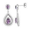 Bellissima Sterling Silver Double Pear Amethyst Earrings