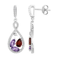 Bellissima Sterling Silver Pear Amethyst and Garnet Earrings