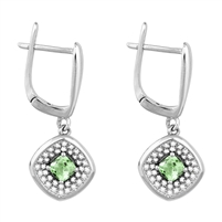 Bellissima Sterling Silver Cushion Peridot Earrings