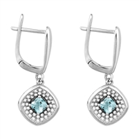 Bellissima Sterling Silver Cushion Sky Blue Topaz Earrings