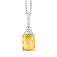 Bellissima Sterling Silver Octagon Citrine Necklace