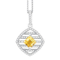 Bellissima Sterling Silver Square Citrine Necklace