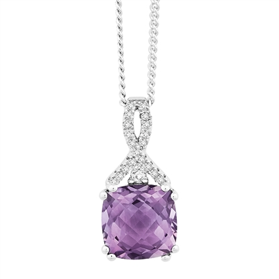 Bellissima Sterling Silver Cushion Amethyst Necklace