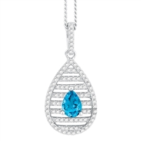 Bellissima Sterling Silver Pear Swiss Blue Topaz Necklace.