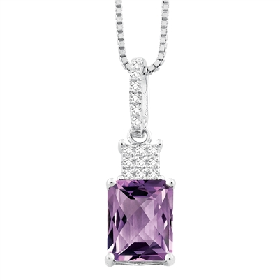 Bellissima Sterling Silver Octagon Amethyst Necklace