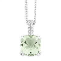 Bellissima Sterling Silver Cushion Green Amethyst Necklace