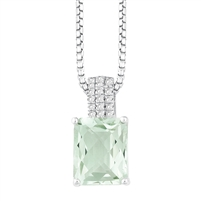 Bellissima Sterling Silver Octagon Green Amethyst Necklace