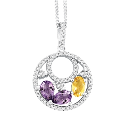 Bellissima Sterling Silver Oval Citrine and Pear Amethyst Necklace