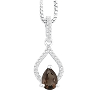 Bellissima Sterling Silver Pear Smoky Quartz Necklace