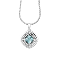 Bellissima Sterling Silver Cushion Sky Blue Topaz Necklace