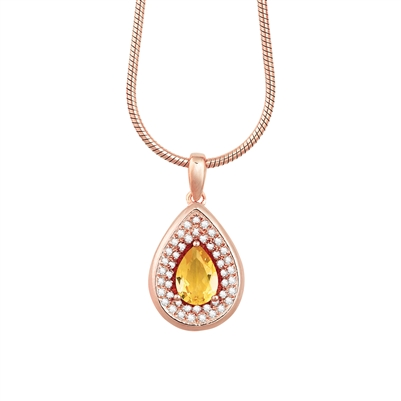 Bellissima Sterling Silver Pear Citrine Necklace