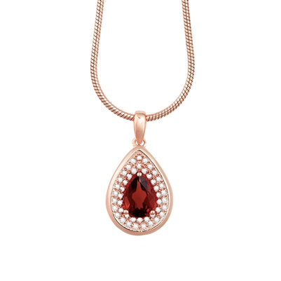 Bellissima Sterling Silver Pear Garnet Necklace