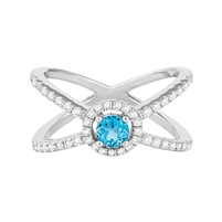 Bellissima Sterling SIlver Swiss Blue Topaz Ring