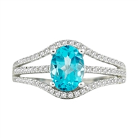 Bellissima Sterling Silver Oval Swiss Blue Topaz Ring