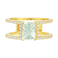 Bellissima Sterling Silver Octagon Green Amethyst Ring