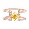 Bellissima Sterling Silver Square Citrine Ring