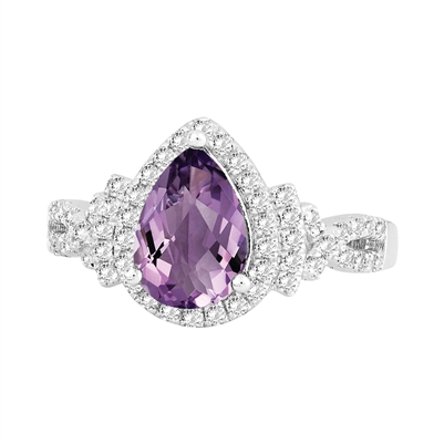 Bellissima Sterling Silver  Pear Amethyst Ring