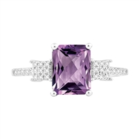 Bellissima Sterling Silver Octagon Amethyst Ring