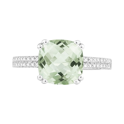Bellissima Sterling Silver Cushion Green Amethyst Ring