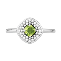Bellissima Sterling Silver Cushion Peridot Ring