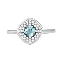 Bellissima Sterling Silver Cushion Sky Blue Topaz Ring