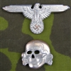 Reproduction Waffen SS Metal Cap Skull And Eagle
