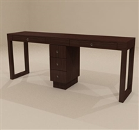 Linea Double Nail Table, 3 Drawer
