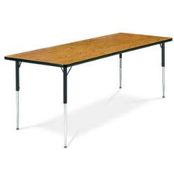 "Virco 483060CHRM- Rectangular 30"" x 60"" Activity Table, 1 1/8 inch Thick Laminate Top, Adjustable Legs All Chrome  (Virco 483060CHRM)"
