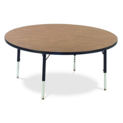 "Virco 4848RN- Round 48"" Activity Table, 1 1/8 inch Thick Laminate Top, non-adjustable All Chrome Legs  (Virco 4848RN)"